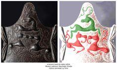 Dragonii, substituiți prin animale fantastice, având coada reprezentată sub forma Pomului Vieții stilizat, sunt afrontați unui cerb, a cărui coarne sunt, deasemeni, reprezentate sub forma coardelor de viţă de vie care se ramifică la intervale mai mult sau mai puţin regulate, expresie vegetală a nemuririi