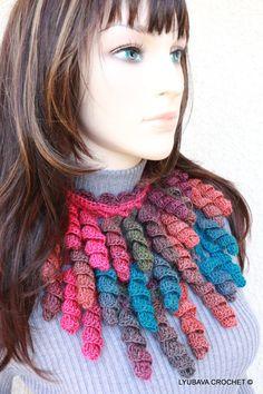 Crochet PATTERN-Scarf Lariat Curly Tassels-Women's Crochet