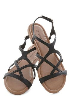 Strappy to Help Sandal - Flat, Faux Leather, Black, Solid, Good, Strappy, Casual