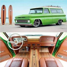 'Lime Crush' 1966 Suburban with its big block, RS chassis and tons of custom details like the awesome full teak interior. Chevy Pickup Trucks, Classic Chevy Trucks, Gm Trucks, Chevy Pickups, Chevrolet Trucks, Cool Trucks, Dually Trucks, Chevy C10, Chevrolet Suburban