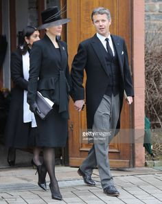 Crown Princess Mary of Denmark and Crown Prince Frederik leave the funeral service for the deceased Prince Richard of Sayn-Wittgenstein-Berleburg (1934 - 2017) at the Evangelische Stadtkirche on March 21, 2017 in Bad Berleburg, Germany. Prince Richard, husband of Princess Benedikte of Denmark, died suddenly on March 13, 2017 at age 83.  (Photo by Juergen Schwarz/Getty Images)