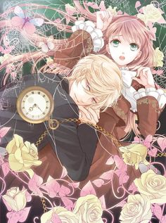 Anime couple, romance, clock, redhair, blode