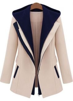 Trendy Color Blocking Single Breasted Long Sleeve Coat - USD $35.49