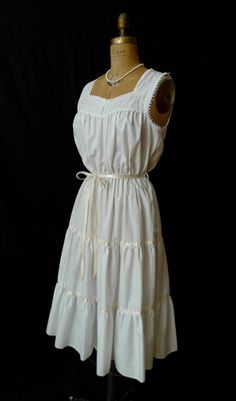 Soft Summer Breeze White Gauze Peasant Dress 12   Summer dresses ...