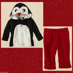TCP Baby Girl Adorable Penguin Glacier Fleece 2 Pc Set Red/Black/White Sz -6-9mo  - (info saved) - Re-list April 8, 2014 - #FreeShipping #$11.99