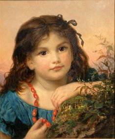 The Athenaeum - Portrait of a girl with a rosehip necklace (Sophie Anderson - )