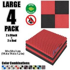New 4 Pcs Black and Red Bundle Egg Crate Convoluted Acoustic Tile Panels Sound Absorption Studio Soundproof Foam Foam Panels, Tile Panels, Studio Soundproofing, Bass Trap, Egg Crates, Recording Studio Home, Sound Absorption, Sound Absorbing, Upholstery Foam