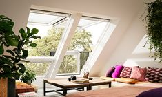 VELUX CABRIO® balcony - from roof window to balcony in seconds Loft Inspiration, Loft Conversion, Dormer Windows, Roof Window, Home, Roof Design, Bedroom Design, Attic Spaces, Dream Spaces