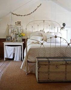 vintage trunk in the bedroom