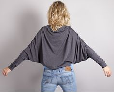 Batwing Shrug Bolero in  GreyGray / Long Sleeve par MoonHalo, $59,00