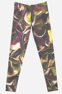"""Digital recolor of Poseidon: an abstract of moving water inspired by my photographs of the Azmak, Akyaka and the Aegean. A unique gift with a autumnal theme suitable for all occasions. """"For The #Love Of #Autumn"""" #Leggings by taiche 