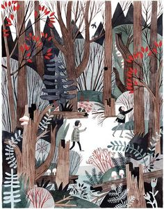 """Carson Ellis, Inside illustration from Wildwood: """"Prue stopped and leaned against a fir tree, taking in her verdant surroundings."""""""