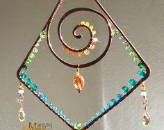 SALE Sparkly Geometric Spiral suncatcher, ombre gemstone Swarovski wire art, window hanging home patio garden decor, crystal suncatcher