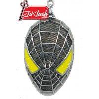 Спайдърмен - метален ключодържател в сив цвят и жълти очи