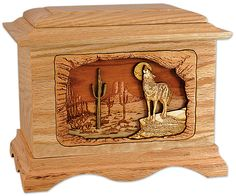 Desert Wolf Wood Cremation Urn