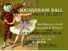 Masquerade Ball at the San Marcos Creek Villa, celebrating Vintage Paso Robles Weekend with a Masquerade Ball on Saturday, March 18th.  Wear your favorite Venetian mask in full cocktail attire and enjoy a lively dinner by Buona Tavola along with San Marcos Creek wines and dancing the night away to a live band. $125/ $100 for club members.  Only 80 places available so reserve your place early as this event will sell out fast!