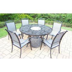 Cascade 7-Piece Aluminum/Sling Stationary Round Patio Dining Furniture Set