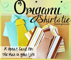 Origami shirt and tie card tutorial. Learn how to make a unique card for the man in your life. Step-by-step instructions. www.TheDatingDivas.com #origamishirttutorial #origamicard #fathersdaycard
