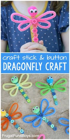 Adorable Dragonfly Craft - Frugal Fun For Boys and Girls - - Make an adorable dragonfly craft out of popsicle sticks, buttons, and other simple supplies from your craft stash. Awesome craft for kids. Bug Crafts, Daycare Crafts, Craft Stick Crafts, Toddler Crafts, Preschool Crafts, Kids Crafts, Cool Crafts For Kids, Button Crafts For Kids, Camping Crafts For Kids