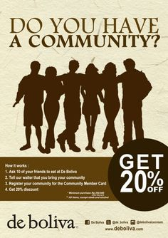 Register your community and get 20% discount @de_boliva @debolivaicecream ! T&C applied. More informations : 031 502 5566 #bolivapromo #deboliva #instaboliva #cafe #lowfat #icecream #surabaya