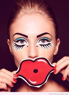 Glam eyes and red lip props