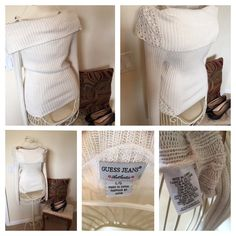 Guess Jeans Sweater Great Condition. Wide fold over neck. Lace detail. Make your best offer! Guess Sweaters Cowl & Turtlenecks