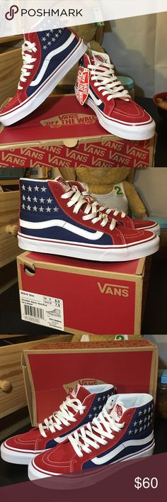MIDNIGHT SALE American flag NWT VANS WOMEN 7.5 NEW with original box. Never worn. Very cute. Easy to be Chic and stylish matching with black leggings. Goes with everything. Women size 7.5. Slim. High vans. sale price only lasts to 11/16/2016 11:59pm PACIFIC TIME. Vans Shoes Sneakers