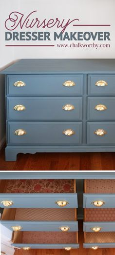 Cute & easy dresser makeover with Chalkworthy's custom color mix: Huckleberry!