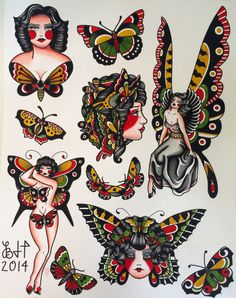 Items similar to Butterfly Ladies Fine Art Print on EtsyYou can find Traditional tattoo flash and more on our website.Items similar to Butterfly Ladies Fine Art Print on Etsy Traditional Tattoo Drawings, Traditional Butterfly Tattoo, Traditional Tattoo Woman, Traditional Tattoo Old School, Traditional Tattoo Design, Traditional Tattoo Flash, American Traditional Tattoos, Traditional Sleeve, Neo Traditional