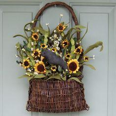 Summer Wreath -  Fall Wreath - Wreath for Door - Door Basket - Primitive Sunflower Basket