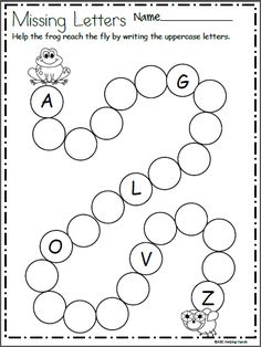 Free letter writing worksheet for preschool and kindergarten. Write the missing letters along the path of circles to help frog reach the fly. This page is a sample from my Spring Math and Literacy Packet: Spring Math and Literacy Packet for Kindergarten Letter Writing Worksheets, Nursery Worksheets, English Worksheets For Kindergarten, Abc Worksheets, Printable Preschool Worksheets, Preschool Writing, Preschool Learning Activities, In Kindergarten, Preschool Fall Crafts