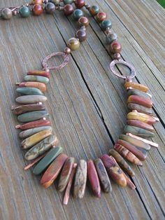 Necklace of gradulated red creek jasper stones by jmariebailey, $65.00