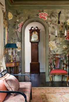 Chinoiserie - Design - Love the scale and whimsical quality of this Chinoiserie style mural