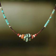 """Items similar to NOVICA Fair Trade Multi Gemstone Beaded Necklace, """"Bohemian Harmony"""" on Etsy Diy Necklace, Necklace Designs, Gemstone Necklace, Gemstone Jewelry, Necklace Ideas, Necklace Tutorial, Beads Tutorial, Diamond Earrings, Beaded Jewelry Designs"""