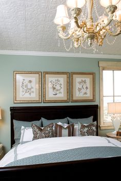 Serene Pale Blue Room with Painted Pressed Tin Ceiling