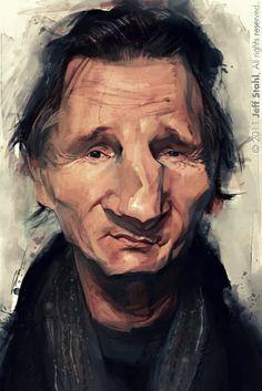 Caricatura del actor Liam Neeson, realizada por el artista Jeff Stahl. Liam Neeson por Jeff Sta...
