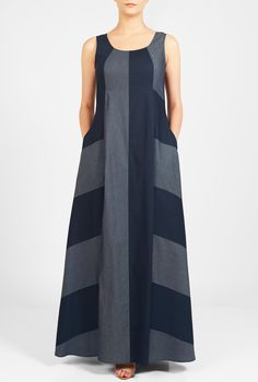 Our effortless banded stripe maxi dress flows gracefully from a seamed empire waist into a full length hem that is fashioned from two tones of cotton chambray and poplin. Striped Maxi Dresses, Linen Dresses, Cotton Dresses, Casual Dresses, Chambray Dress, Sleeveless Dresses, Shift Dresses, Blue Dresses, Casual Friday Outfit