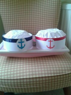 diy paper sailor hat | Sailor hats made with card, coffee filters and ribbon More
