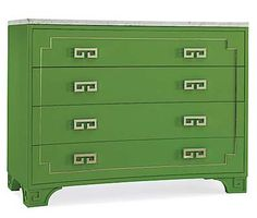 Greek Key drawer chest with marble top by Oscar de la Renta for Century Furniture; love the drawer pulls. Color Of The Year 2017 Pantone, Pantone Color, Tarva Ikea, Ikea Hack, Pantone Greenery, Green Dresser, New England Homes, Greek Key, Painted Furniture