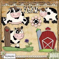 Dairy Farm 1 - Whimsy Primsy Country Clip Art Download