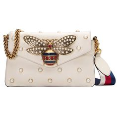 Gucci Broadway Leather Clutch ($2,980) ❤ liked on Polyvore featuring bags, handbags, clutches, leather handbags, genuine leather purse, gucci purses, studded leather purse and studded leather handbag