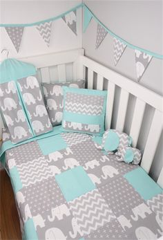 Quilt, Cot size in Mint & Grey Elephant Patchwork. Matching bunting, cushion also available.