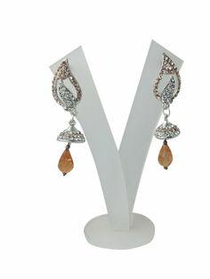 Amazon.com: Bollywood Dangling Earring Set Silver Tone Peach Pink Stone Earrings: Tarini Jewels: Jewelry