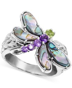 Carolyn Pollack Sterling Silver Green Varicite and Blue Turquoise or Pink and White Mother of Pearl Gemstone Three Stone Ovals Ring Size 6 to 10