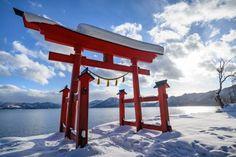 Gozanoishi torii on the shore of Lake Tazawa, Akita, Tohoku region, Japan. Travel Tours, Japan Travel, Tokyo Station, Weather Activities, Go Hiking, Akita, Hot Springs, Time Travel, The Locals