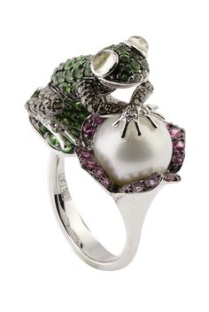 Jardin Critters Mix Stone and Pearl Frog Ring, 2.9 TCW LOVE