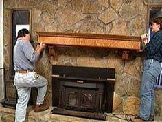 how to add a mantle to a stone fireplace
