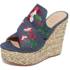 Ash Bahia Wedge Slide Sandals (€140) ❤ liked on Polyvore featuring shoes, sandals, washed denim, denim sandals, woven wedge sandals, denim cap, wide width wedge sandals and braided sandals