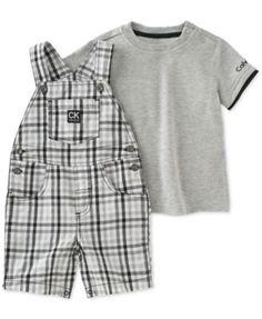 Calvin Klein Baby Boys' 2-Pc. T-Shirt & Plaid Shortall Set