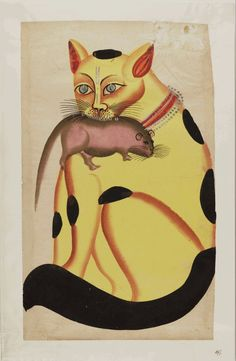 Kalighat paintings – cat holding mouse in mouth. Kalighat painting originated in the 19th century Bengal, in the vicinity of Kalighat Kali Temple, Kalighat, Kolkata, India.